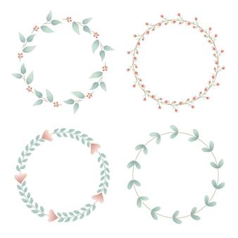 Conjunto de cartão com flores para convites de casamento e cartões de aniversário