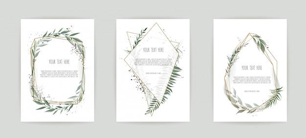 Conjunto de cartão com folhas e moldura geométrica