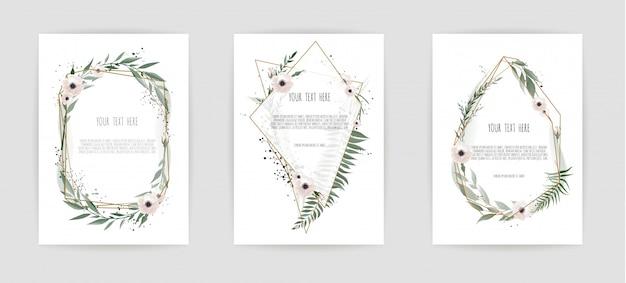 Conjunto de cartão com folhas e moldura geométrica.