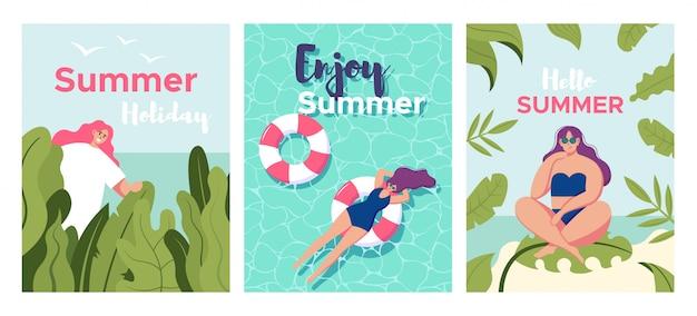 Conjunto de cartão com garota relaxante na praia e piscina com palm deixar. modelo de design de cartaz ou folheto de férias de verão com mulher bonita. convite para festa. estilo moderno dos desenhos animados. ilustração