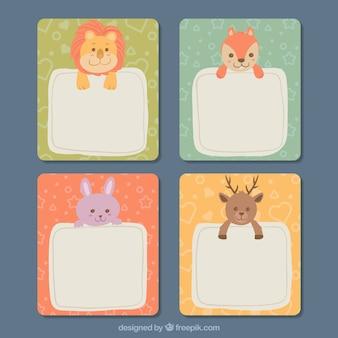 Conjunto de cartão com lindos animais planos