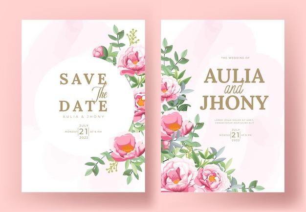 Conjunto de cartão com peônias de flores, folhas. conceito de ornamento de casamento.