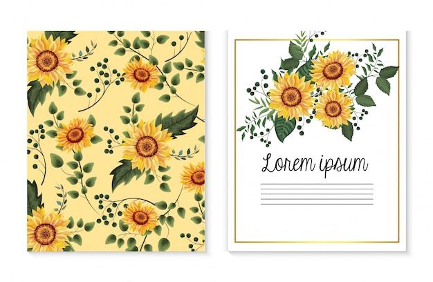 Conjunto de cartão com plantas de girassóis e folhas de galhos