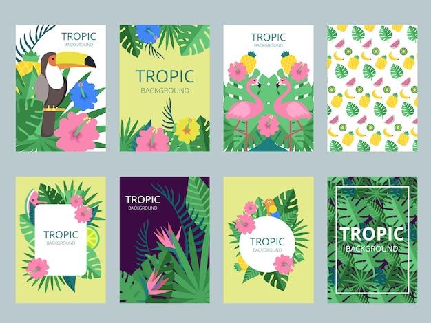 Conjunto de cartão com plantas exóticas, frutas e animais