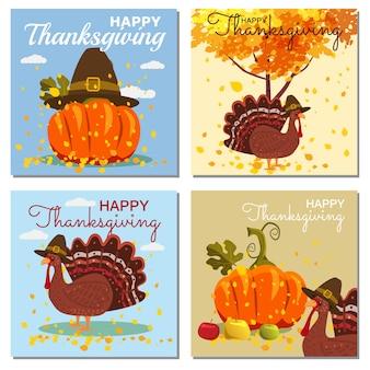 Conjunto de cartão comemorativo de feliz dia de graças com abóbora e folhas de outono