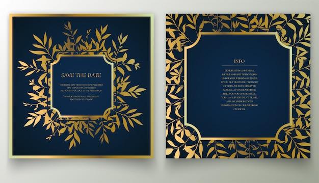 Conjunto de cartão convite floral dourado.