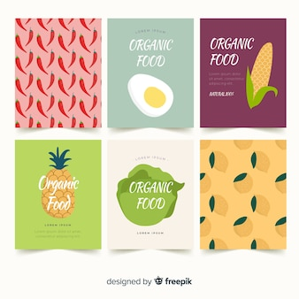 Conjunto de cartão de alimentos orgânicos