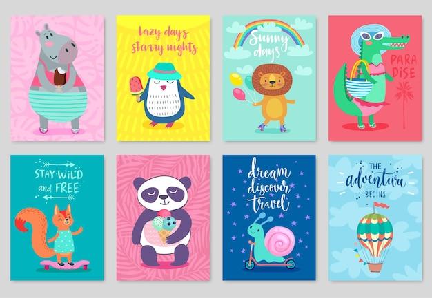 Conjunto de cartão de animais desenhado à mão, tema de verão