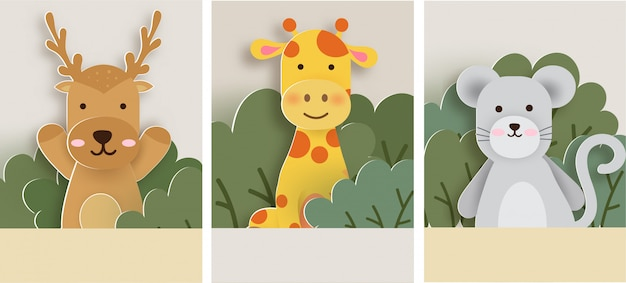 Conjunto de cartão de animais, veados, girafa e rato na floresta. estilo de corte de papel.