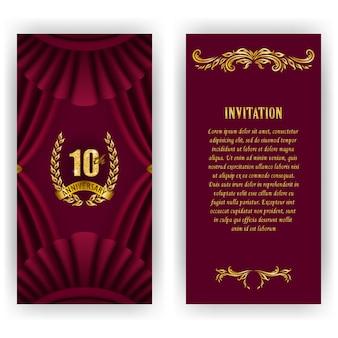 Conjunto de cartão de aniversário, convite com coroa de louros, números.