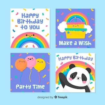 Conjunto de cartão de aniversário de mão desenhada