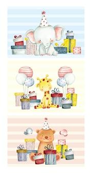 Conjunto de cartão de aniversário em aquarela