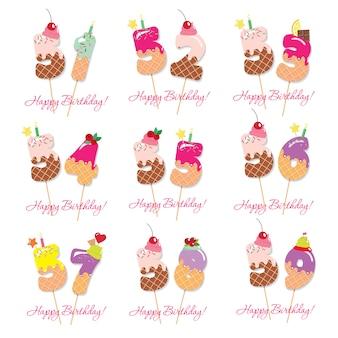 Conjunto de cartão de aniversário. números doces festivos de 51 a 59.