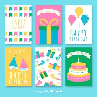 Conjunto de cartão de aniversário plana