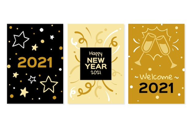 Conjunto de cartão de ano novo 2021 desenhado à mão