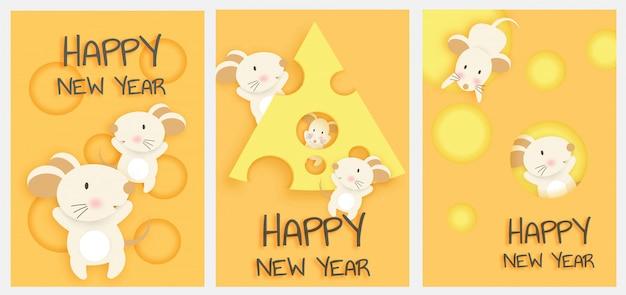 Conjunto de cartão de ano novo. ano novo chinês, ano do rato