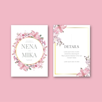 Conjunto de cartão de capina floral