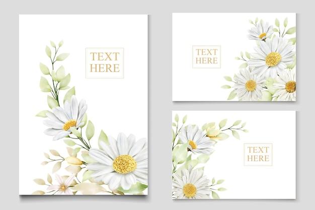 Conjunto de cartão de casamento aquarela crisântemo