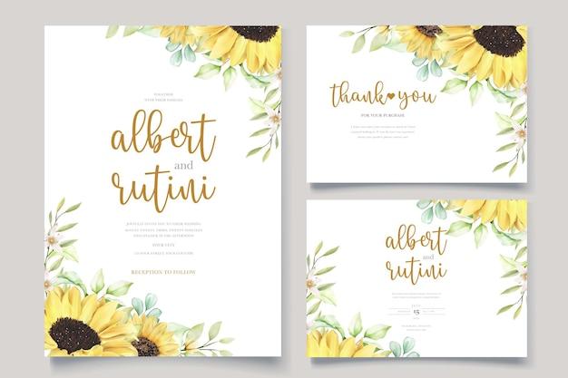 Conjunto de cartão de casamento aquarela girassol desenhado à mão