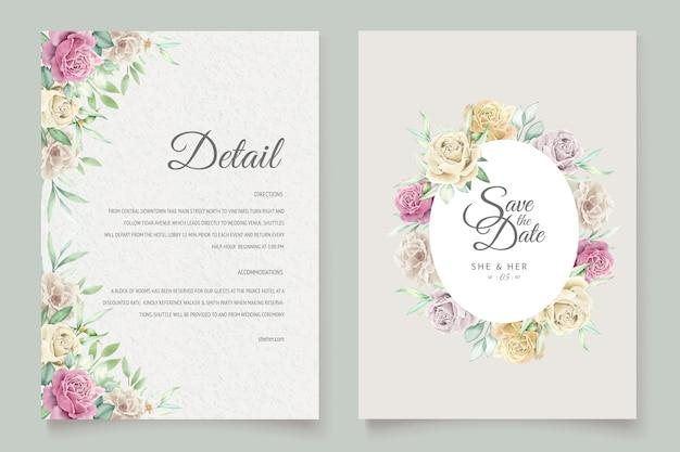 Conjunto de cartão de casamento de aquarela floral