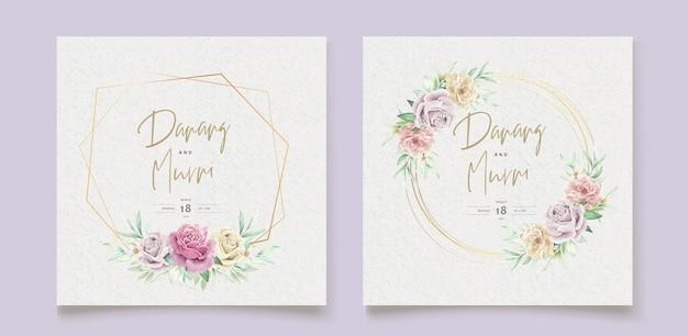 Conjunto de cartão de casamento de elementos florais em aquarela