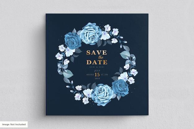 Conjunto de cartão de casamento floral azul
