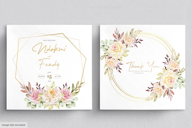 Conjunto de cartão de casamento floral em aquarela romântico