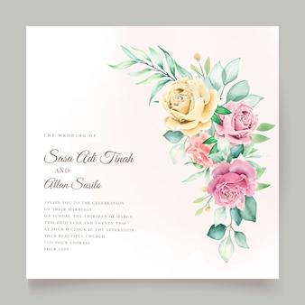 Conjunto de cartão de casamento floral em aquarela