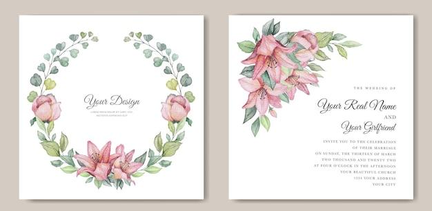 Conjunto de cartão de casamento floral minimalista