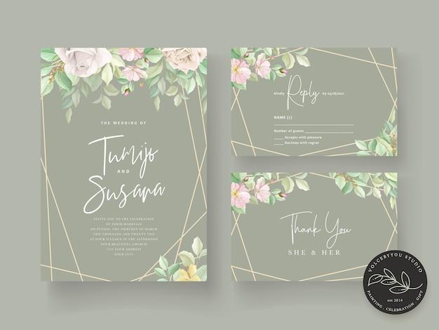 Conjunto de cartão de casamento floral verde suave