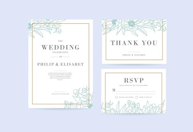 Conjunto de cartão de casamento floral