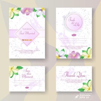 Conjunto de cartão de casamento flores em pastel romântico