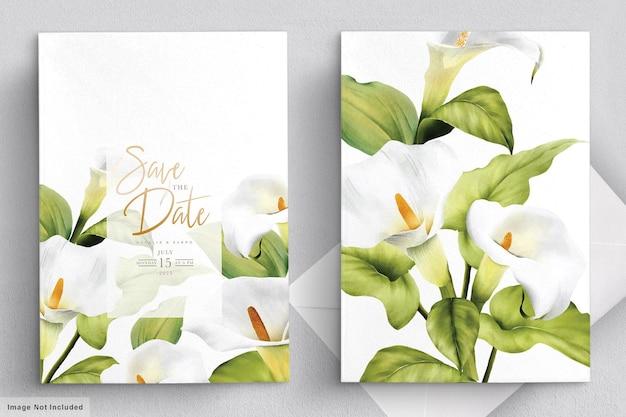 Conjunto de cartão de casamento lírio elegante
