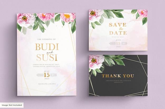 Conjunto de cartão de casamento rosa suave