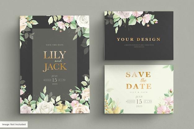Conjunto de cartão de casamento verde suave