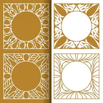 Conjunto de cartão de casamento vintage moldura linha de ornamento