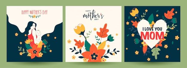 Conjunto de cartão de celebração feliz dia das mães