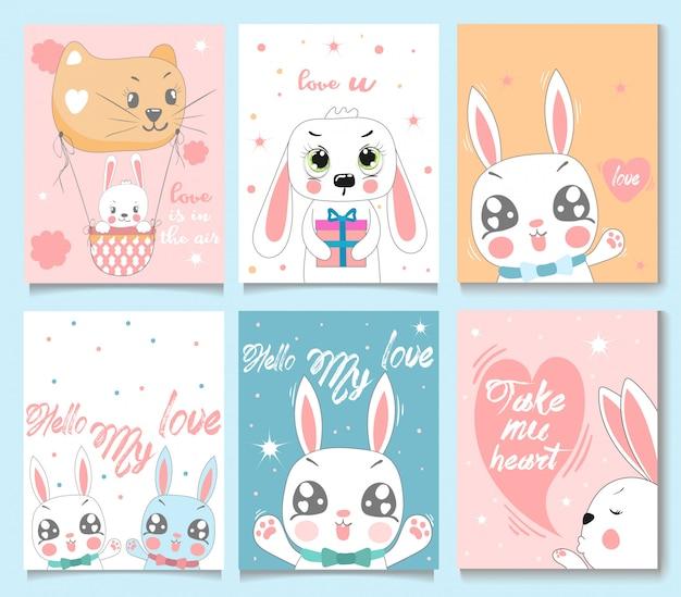 Conjunto de cartão de coelho de bebê.
