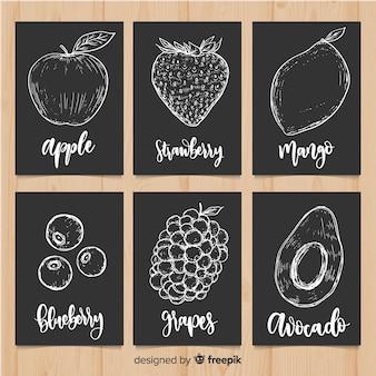 Conjunto de cartão de comida de frutas de quadro-negro