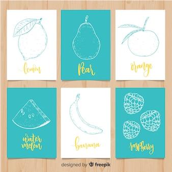 Conjunto de cartão de comida de frutas mão desenhada