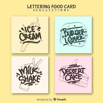 Conjunto de cartão de comida de letras