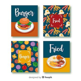 Conjunto de cartão de comida de mão desenhada