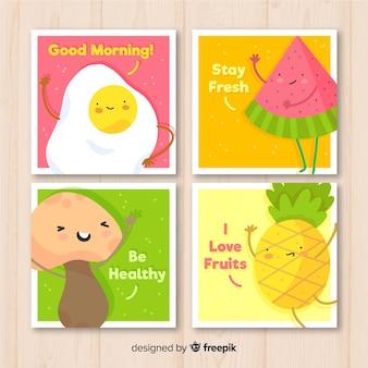 Conjunto de cartão de comida fofo