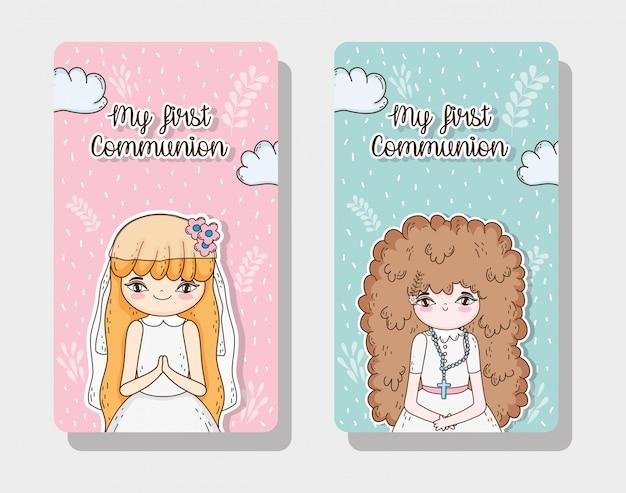 Conjunto de cartão de comunhão de meninas para evento tradicional