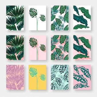 Conjunto de cartão de convite com folhas de fundo