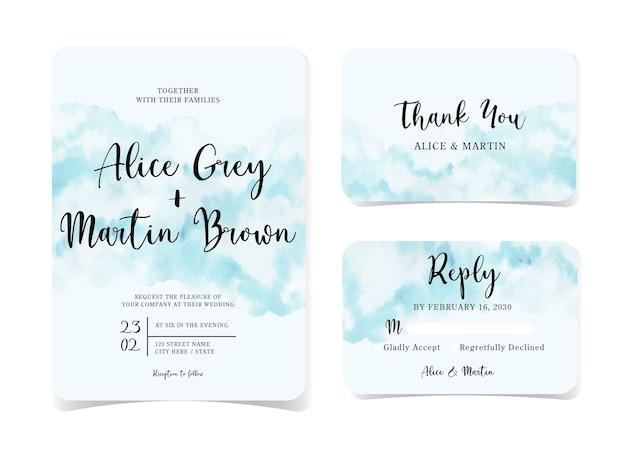 Conjunto de cartão de convite de casamento abstrato azul