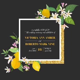 Conjunto de cartão de convite de casamento botânico, vintage save the date, design de modelo de limões frutas flores e folhas, ilustração de flor. capa da moda de vetor, pôster gráfico, brochura