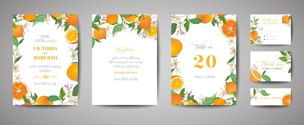 Conjunto de cartão de convite de casamento botânico, vintage save the date, modelo de design de laranja, frutas cítricas, flores e folhas, ilustração de flor. capa da moda de vetor, pôster gráfico, brochura