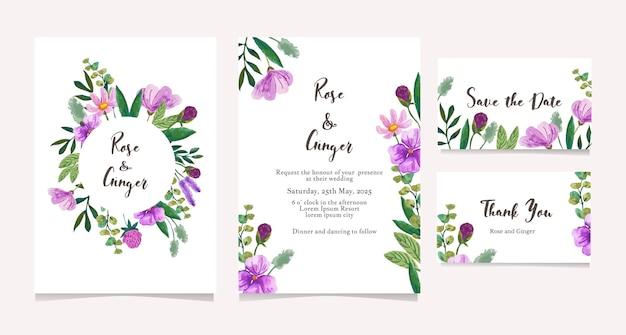 Conjunto de cartão de convite de casamento com flor em aquarela