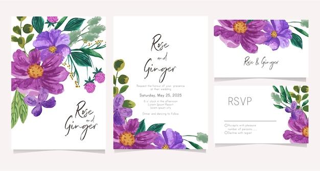 Conjunto de cartão de convite de casamento com flor roxa em aquarela